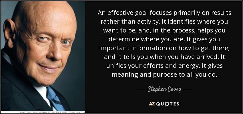 An effective goal focuses primarily on results rather than activity. It identifies where you want to be, and, in the process, helps you determine where you are. It gives you important information on how to get there, and it tells you when you have arrived. It unifies your efforts and energy. It gives meaning and purpose to all you do. - Stephen Covey