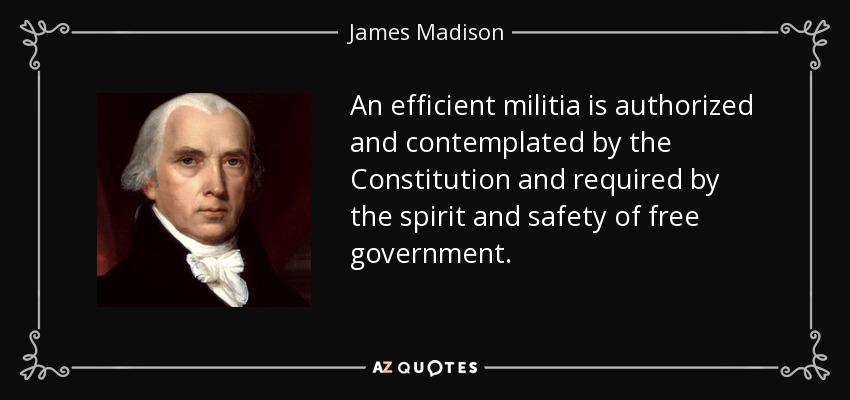 An efficient militia is authorized and contemplated by the Constitution and required by the spirit and safety of free government. - James Madison