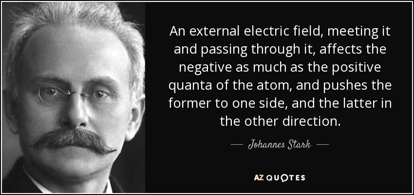 An external electric field, meeting it and passing through it, affects the negative as much as the positive quanta of the atom, and pushes the former to one side, and the latter in the other direction. - Johannes Stark