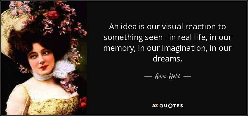 An idea is our visual reaction to something seen - in real life, in our memory, in our imagination, in our dreams. - Anna Held