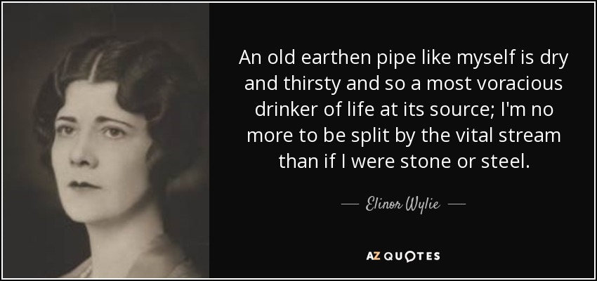 An old earthen pipe like myself is dry and thirsty and so a most voracious drinker of life at its source; I'm no more to be split by the vital stream than if I were stone or steel. - Elinor Wylie