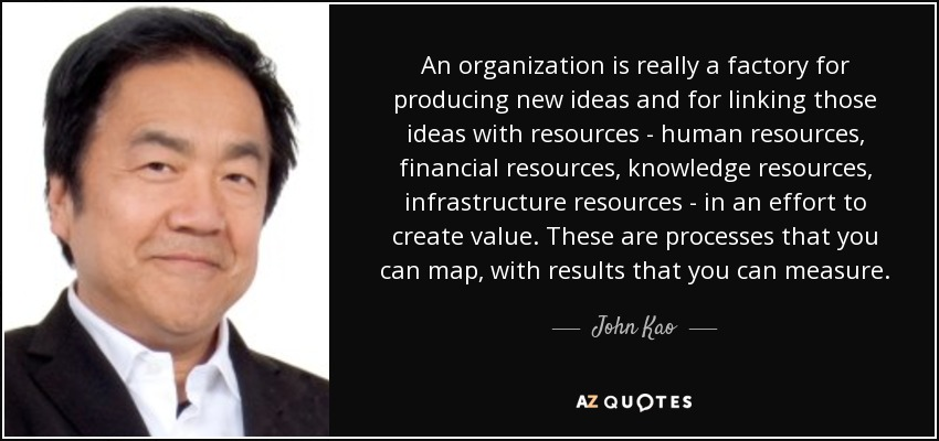 An organization is really a factory for producing new ideas and for linking those ideas with resources - human resources, financial resources, knowledge resources, infrastructure resources - in an effort to create value. These are processes that you can map, with results that you can measure. - John Kao