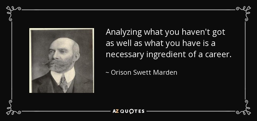 Analyzing what you haven't got as well as what you have is a necessary ingredient of a career. - Orison Swett Marden