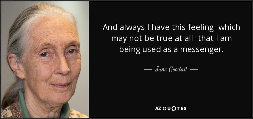 And always I have this feeling--which may not be true at all--that I am being used as a messenger. - Jane Goodall