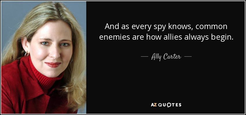 And as every spy knows, common enemies are how allies always begin. - Ally Carter