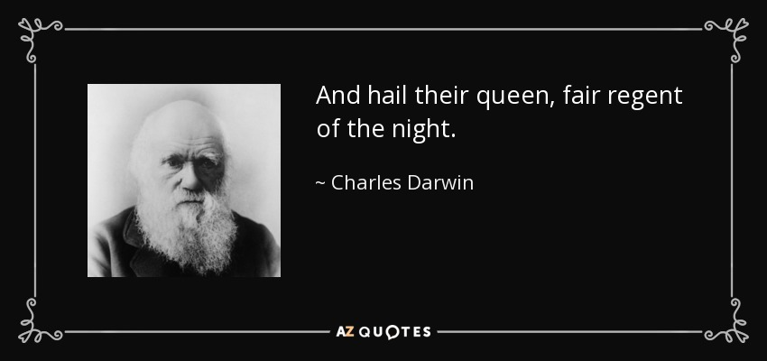 And hail their queen, fair regent of the night. - Charles Darwin