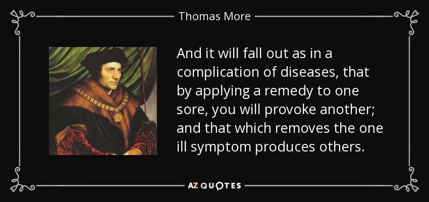 And it will fall out as in a complication of diseases, that by applying a remedy to one sore, you will provoke another; and that which removes the one ill symptom produces others. - Thomas More