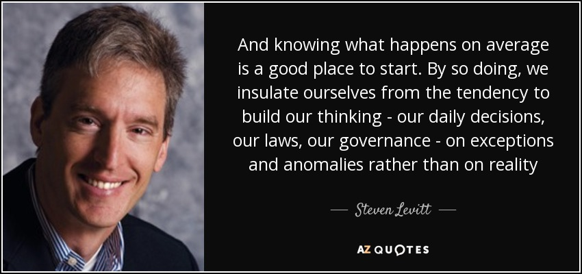 And knowing what happens on average is a good place to start. By so doing, we insulate ourselves from the tendency to build our thinking - our daily decisions, our laws, our governance - on exceptions and anomalies rather than on reality - Steven Levitt
