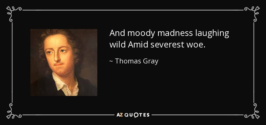 And moody madness laughing wild Amid severest woe. - Thomas Gray