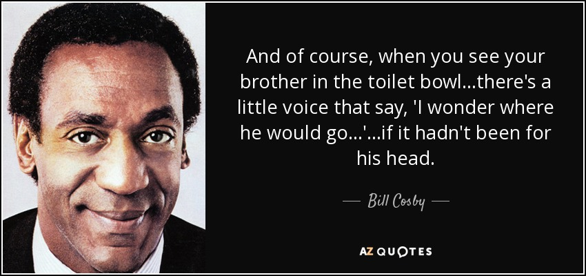 And of course, when you see your brother in the toilet bowl...there's a little voice that say, 'I wonder where he would go...'...if it hadn't been for his head... - Bill Cosby