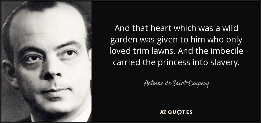 And that heart which was a wild garden was given to him who only loved trim lawns. And the imbecile carried the princess into slavery. - Antoine de Saint-Exupery