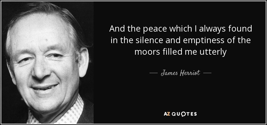 And the peace which I always found in the silence and emptiness of the moors filled me utterly - James Herriot