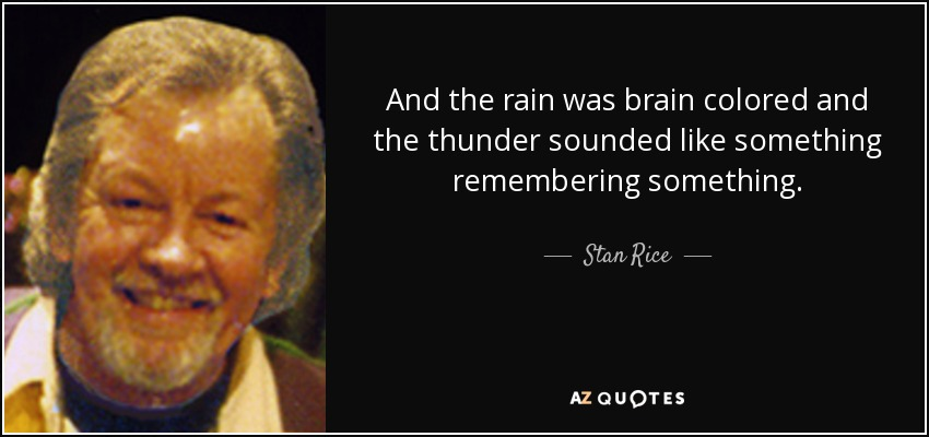 And the rain was brain colored and the thunder sounded like something remembering something. - Stan Rice