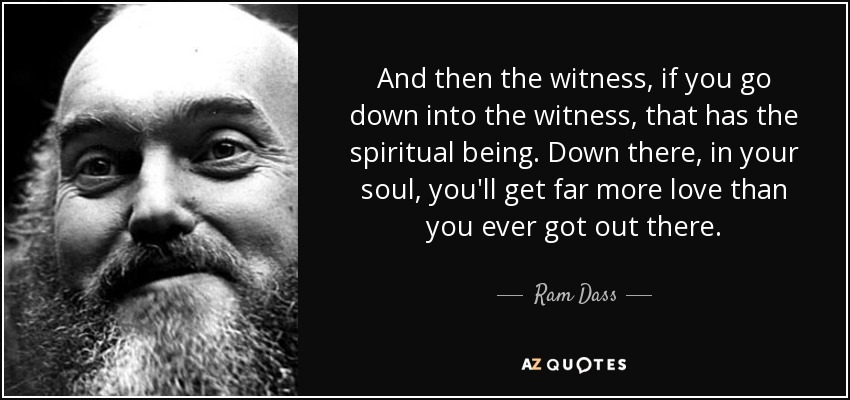Ram Dass quote: And then the witness, if you go down into the...