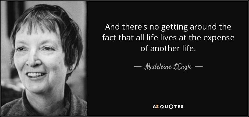 And there's no getting around the fact that all life lives at the expense of another life. - Madeleine L'Engle