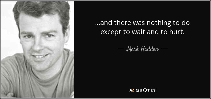 ...and there was nothing to do except to wait and to hurt. - Mark Haddon