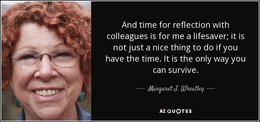 And time for reflection with colleagues is for me a lifesaver; it is not just a nice thing to do if you have the time. It is the only way you can survive. - Margaret J. Wheatley