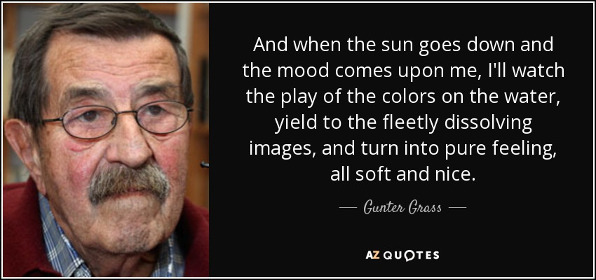 And when the sun goes down and the mood comes upon me, I'll watch the play of the colors on the water, yield to the fleetly dissolving images, and turn into pure feeling, all soft and nice. - Gunter Grass
