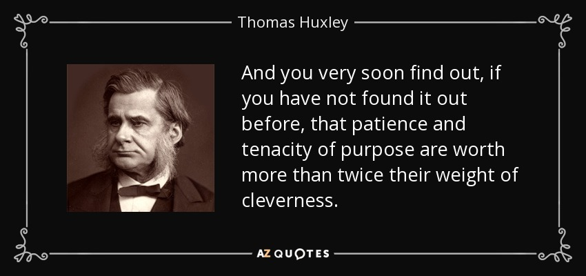 And you very soon find out, if you have not found it out before, that patience and tenacity of purpose are worth more than twice their weight of cleverness. - Thomas Huxley