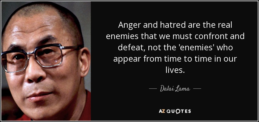 Anger and hatred are the real enemies that we must confront and defeat, not the 'enemies' who appear from time to time in our lives. - Dalai Lama