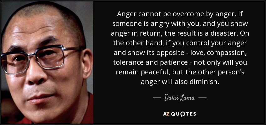 Anger cannot be overcome by anger. If someone is angry with you, and you show anger in return, the result is a disaster. On the other hand, if you control your anger and show its opposite - love, compassion, tolerance and patience - not only will you remain peaceful, but the other person's anger will also diminish. - Dalai Lama