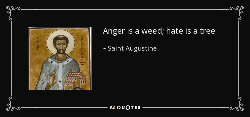 Anger is a weed; hate is a tree - Saint Augustine