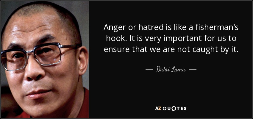 Anger or hatred is like a fisherman's hook. It is very important for us to ensure that we are not caught by it. - Dalai Lama