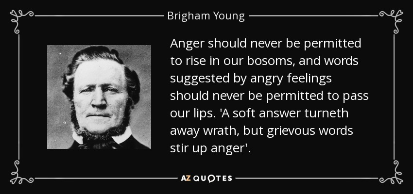 Anger should never be permitted to rise in our bosoms, and words suggested by angry feelings should never be permitted to pass our lips. 'A soft answer turneth away wrath, but grievous words stir up anger'. - Brigham Young