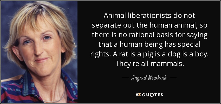Animal liberationists do not separate out the human animal, so there is no rational basis for saying that a human being has special rights. A rat is a pig is a dog is a boy. They're all mammals. - Ingrid Newkirk