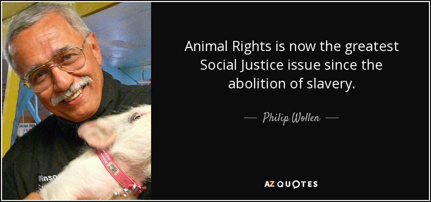 Animal Rights is now the greatest Social Justice issue since the abolition of slavery. - Philip Wollen