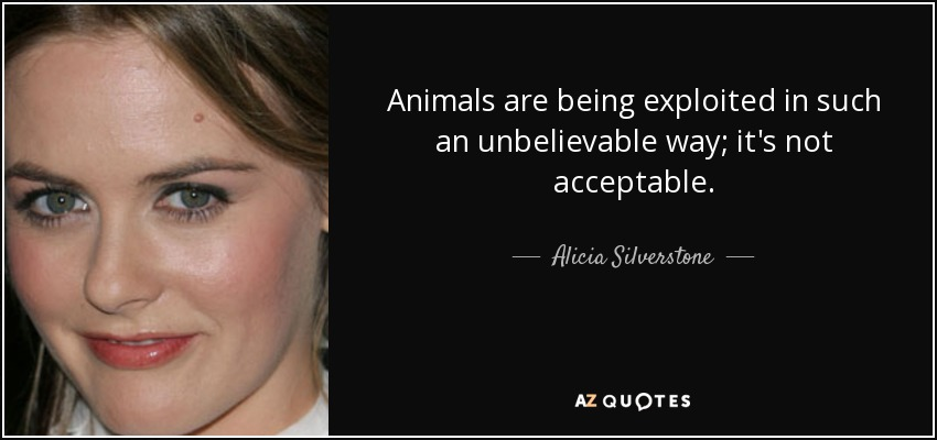 Animals are being exploited in such an unbelievable way; it's not acceptable. - Alicia Silverstone