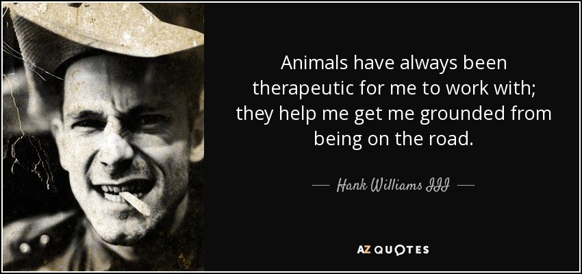 Animals have always been therapeutic for me to work with; they help me get me grounded from being on the road. - Hank Williams III