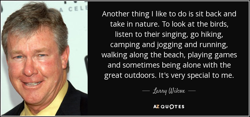 Another thing I like to do is sit back and take in nature. To look at the birds, listen to their singing, go hiking, camping and jogging and running, walking along the beach, playing games and sometimes being alone with the great outdoors. It's very special to me. - Larry Wilcox