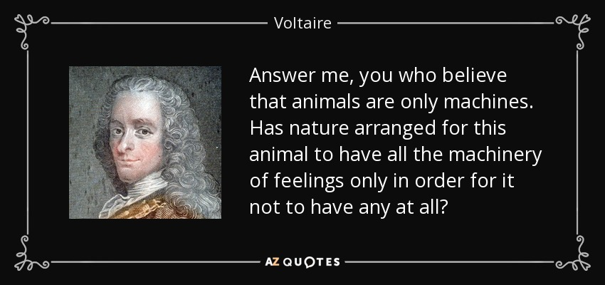 Answer me, you who believe that animals are only machines. Has nature arranged for this animal to have all the machinery of feelings only in order for it not to have any at all? - Voltaire