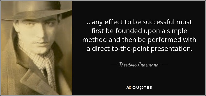 ...any effect to be successful must first be founded upon a simple method and then be performed with a direct to-the-point presentation. - Theodore Annemann