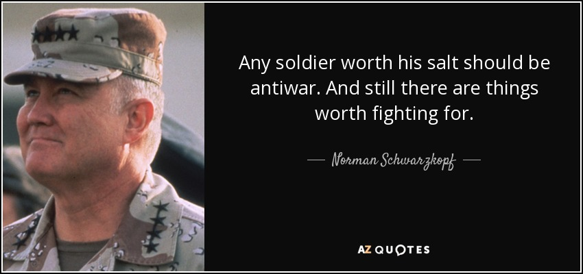 Any soldier worth his salt should be antiwar. And still there are things worth fighting for. - Norman Schwarzkopf