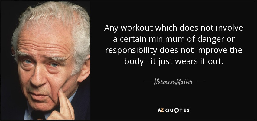 Any workout which does not involve a certain minimum of danger or responsibility does not improve the body - it just wears it out. - Norman Mailer