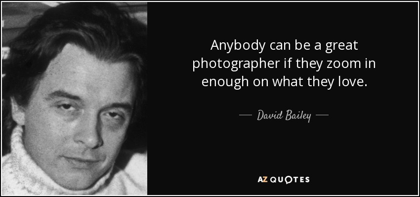 Anybody can be a great photographer if they zoom in enough on what they love. - David Bailey
