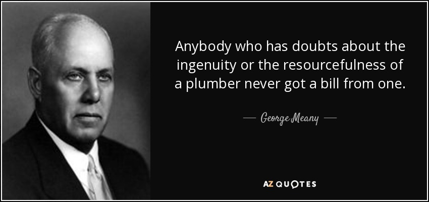 Anybody who has doubts about the ingenuity or the resourcefulness of a plumber never got a bill from one. - George Meany