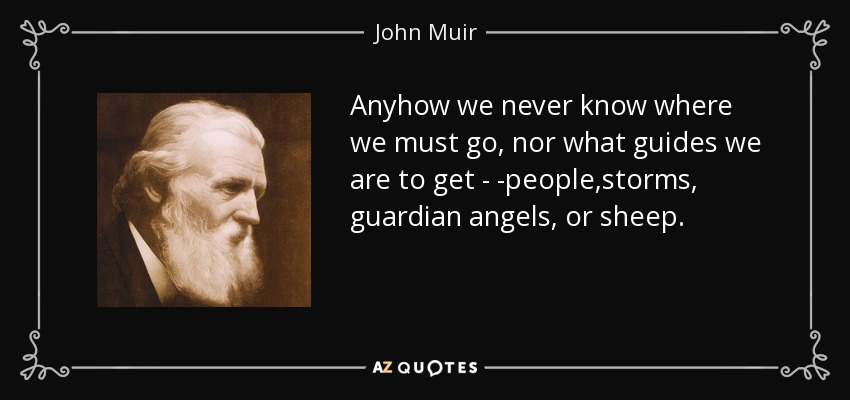 Anyhow we never know where we must go, nor what guides we are to get---people,storms, guardian angels, or sheep.... - John Muir
