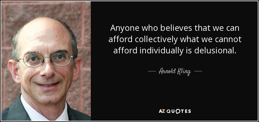 Anyone who believes that we can afford collectively what we cannot afford individually is delusional. - Arnold Kling