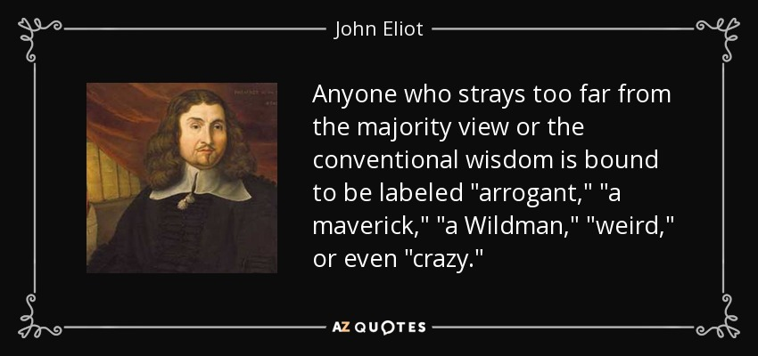 Anyone who strays too far from the majority view or the conventional wisdom is bound to be labeled