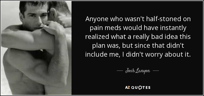 Anyone who wasn't half-stoned on pain meds would have instantly realized what a really bad idea this plan was, but since that didn't include me, I didn't worry about it. - Josh Lanyon