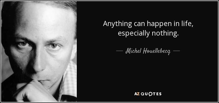 Anything can happen in life, especially nothing. - Michel Houellebecq