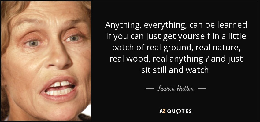 Anything, everything, can be learned if you can just get yourself in a little patch of real ground, real nature, real wood, real anything ? and just sit still and watch. - Lauren Hutton