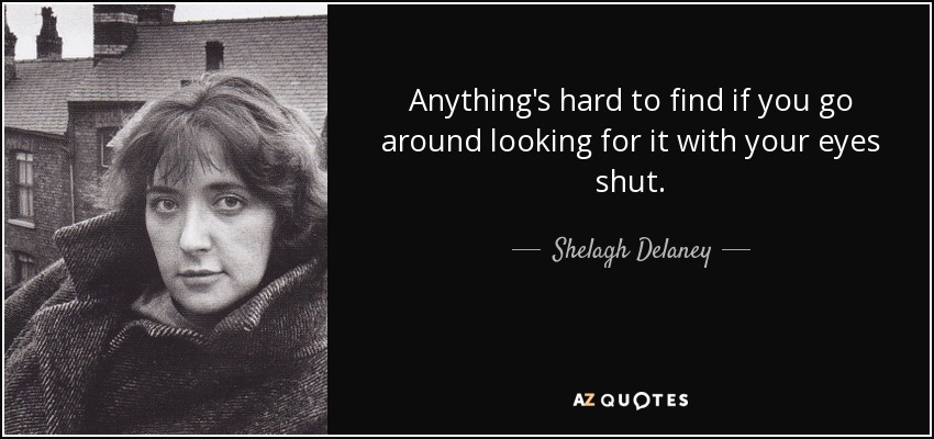 Anything's hard to find if you go around looking for it with your eyes shut. - Shelagh Delaney