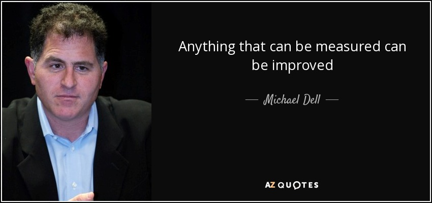 Anything that can be measured can be improved - Michael Dell