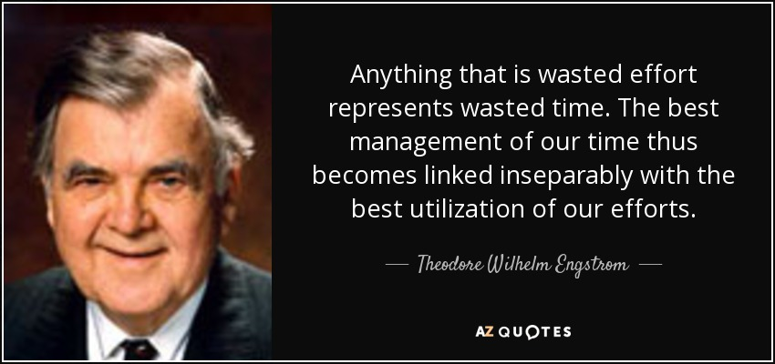 Theodore Wilhelm Engstrom quote: Anything that is wasted