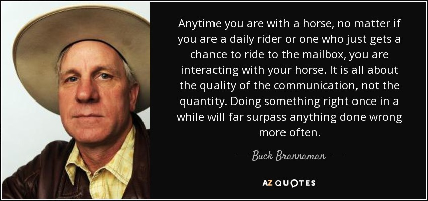 Anytime you are with a horse, no matter if you are a daily rider or one who just gets a chance to ride to the mailbox, you are interacting with your horse. It is all about the quality of the communication, not the quantity. Doing something right once in a while will far surpass anything done wrong more often. - Buck Brannaman
