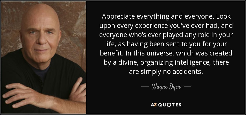 Appreciate everything and everyone. Look upon every experience you've ever had, and everyone who's ever played any role in your life, as having been sent to you for your benefit. In this universe, which was created by a divine, organizing intelligence, there are simply no accidents. - Wayne Dyer